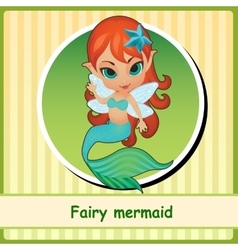 Fairy mermaid - cute girl closeup vector