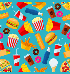 Fast food snacks and drinks seamless background vector