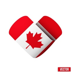 Flag icon in the form of heart i love canada vector