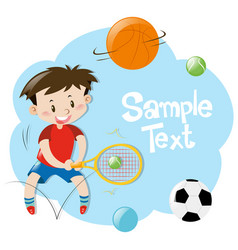 frame design with boy playing sports vector image