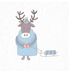 Funny deer with a sleigh nursery art minimalist vector