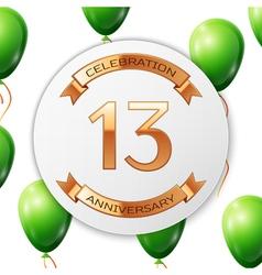 Golden number thirteen years anniversary vector