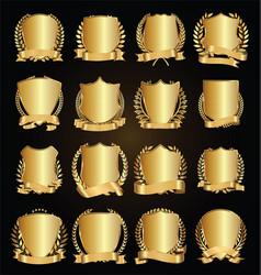 Golden shields laurel wreath with golden ribbon vector