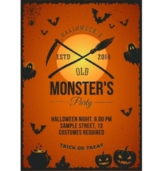 Halloween monster party poster invitation vector