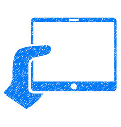 Hand holds tablet grunge icon vector