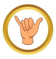 Hang loose hand gesture icon cartoon style vector