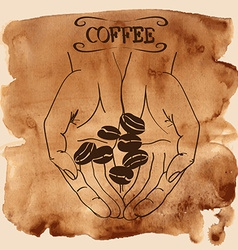 Human hands holding coffee beans vector