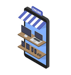 Isometric concept store online shopping of vector