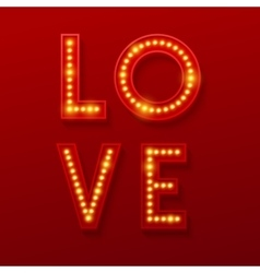 Love retro light banner valentines card vector