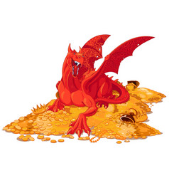 magic dragon on the pile of gold vector image vector image
