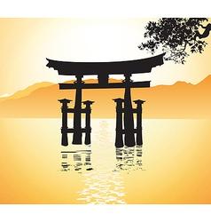 Miyajima gate at Hiroshima vector image vector image
