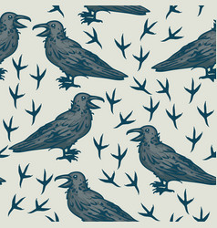 seamless pattern with black crows vector image vector image