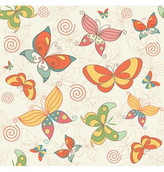 Seamless Summer Background with Butterflies vector image vector image