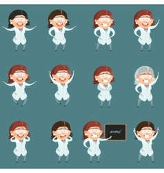 Set of flat scientist women icons vector image