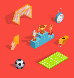 Set of isometric soccer icons vector