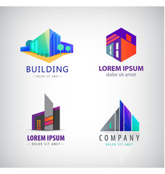 set of modern building logos company icons vector image