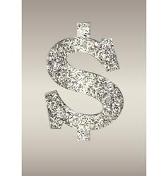 Shiny dollar on a light background vector