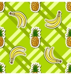 Striped background banana pineapple vector