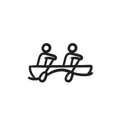 Tourists sitting in boat sketch icon vector