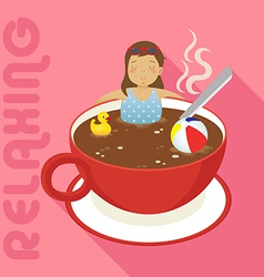 Woman in red cup of hot coffee vector