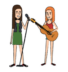 women singing and playing guitar vector image