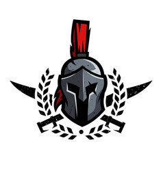 Wreath swords and helmet of the spartan warrior vector