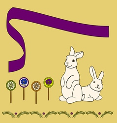 0315 3 rabbits with candy v vector image vector image