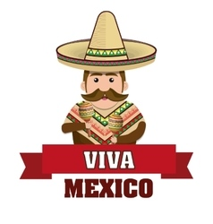 man mexican with hat and cloths traditional vector image