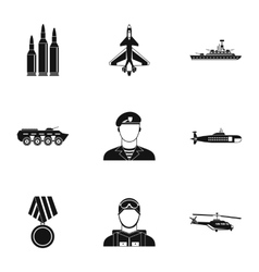 Equipment for war icons set simple style vector