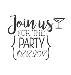 cocktail party black and white invitation card vector image