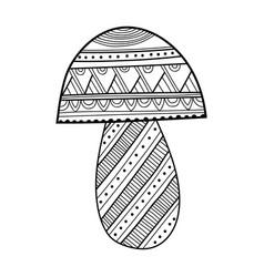 Ornamental mushroom black and white vector