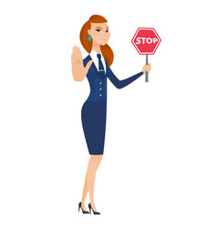 Caucasian stewardess holding stop road sign vector