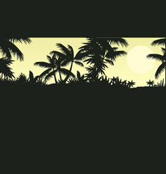 silhouette of forest with palm tree scenery vector image
