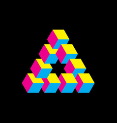 impossible triangle in cmyk colors cubes arranged vector image