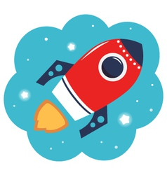 Colorful cartoon rocket in space isolated on white vector