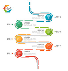 Abstract 6 steps road timeline infographic vector