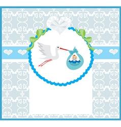 Baby boy card - a stork delivering a cute baby boy vector