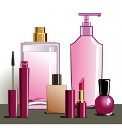 Makeup and beauty products vector