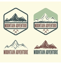 Set of vintage labels mountain adventure vector