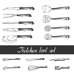 Hand drawn kitchen utensils set vector