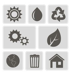 monochrome icons with ecology symbols vector image