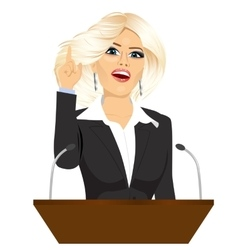 Female orator standing behind a podium vector