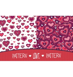 Two love patterns white and red vector