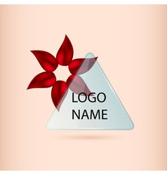 Logo banner with red petal flower and glass vector