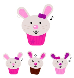 easter bunny cupcakes vector image