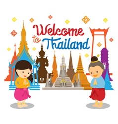 Kids sawasdee and welcome to thailand vector