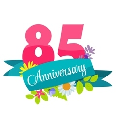 Cute template 85 years anniversary sign vector