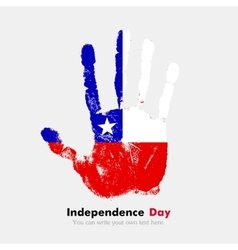 Handprint with the flag of chile in grunge style vector