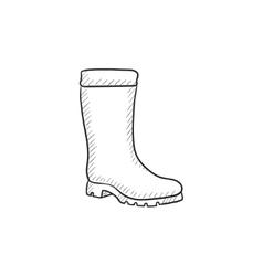 High boot sketch icon vector