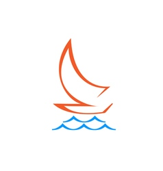 Original Stylized Sailboat On Waves vector image